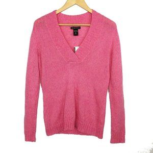 New York & Company Pink Wool Blend V-neck Sweater